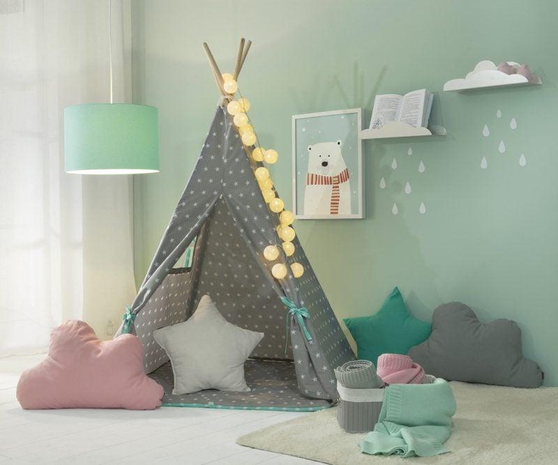 Namiot dziecięcy Tipi rozświetlony przy użyciu cotton balls