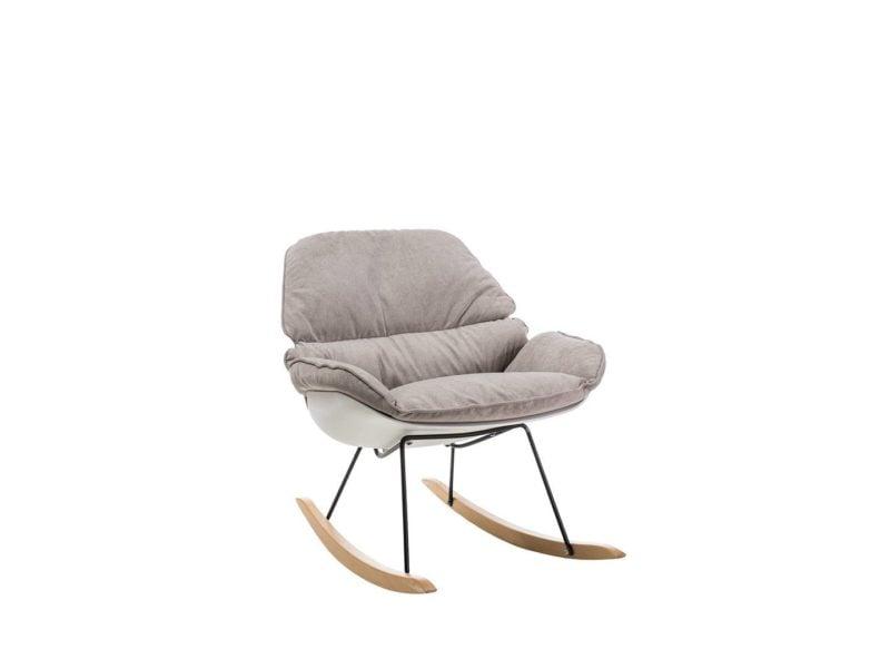 Fotel bujany biały-beżowy Alzano
