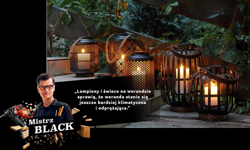Lanternes et bougies sur la véranda