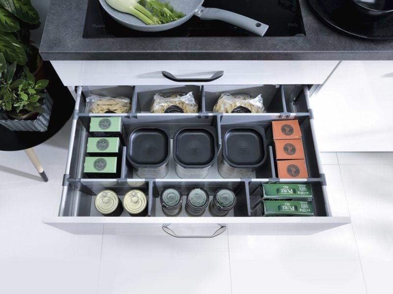 wkłady do szuflad w projekcie kuchni Top Line
