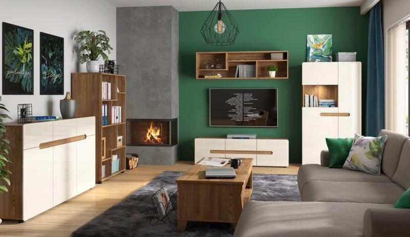 Zielone ściany na tle kolekcji mebli Indio