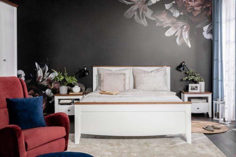 Łóżko Kalio z elementami drewna