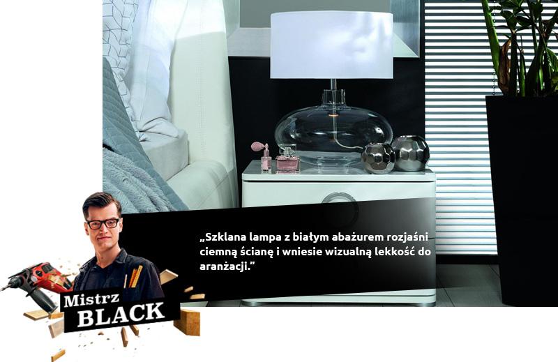 Mistrz BLACK: Szklana lampa z białym abażurem rozjaśni ciemną ścianę i wniesie wizualną lekkość do aranżacji.