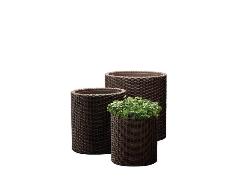 Komplet trzech doniczek Cylinder brown