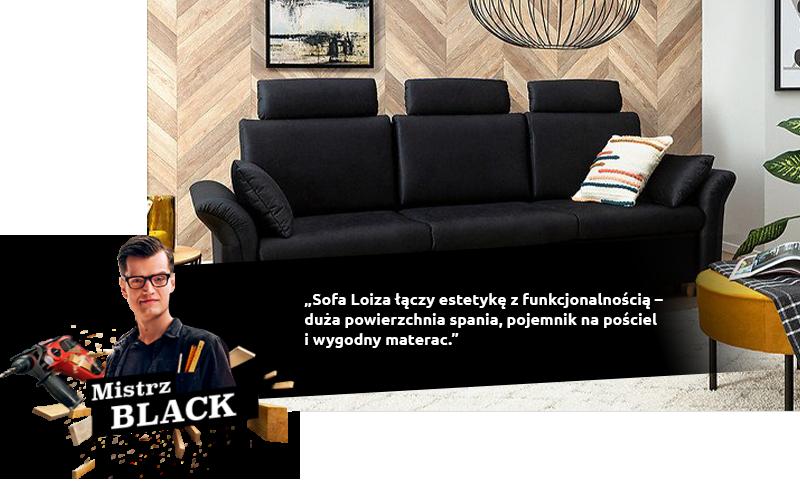 Sofa Loiza łączy estetykę z funkcjonalnością – duża powierzchnia spania, pojemnik na pościel i wygodny materac