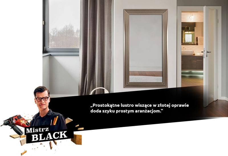 BLACK: Prostokątne lustro wiszące w złotej oprawie doda szyku prostym aranżacjom