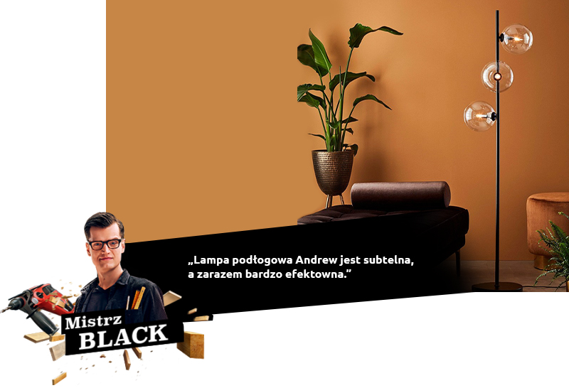 black lampa podłogowa Andrew
