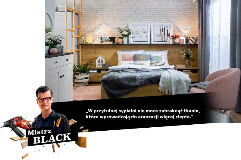 black przytulna sypialnia