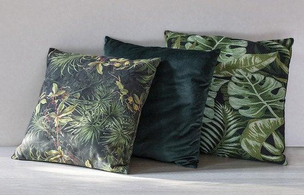 poduszki dekoracyjne w odcieniach zieleni
