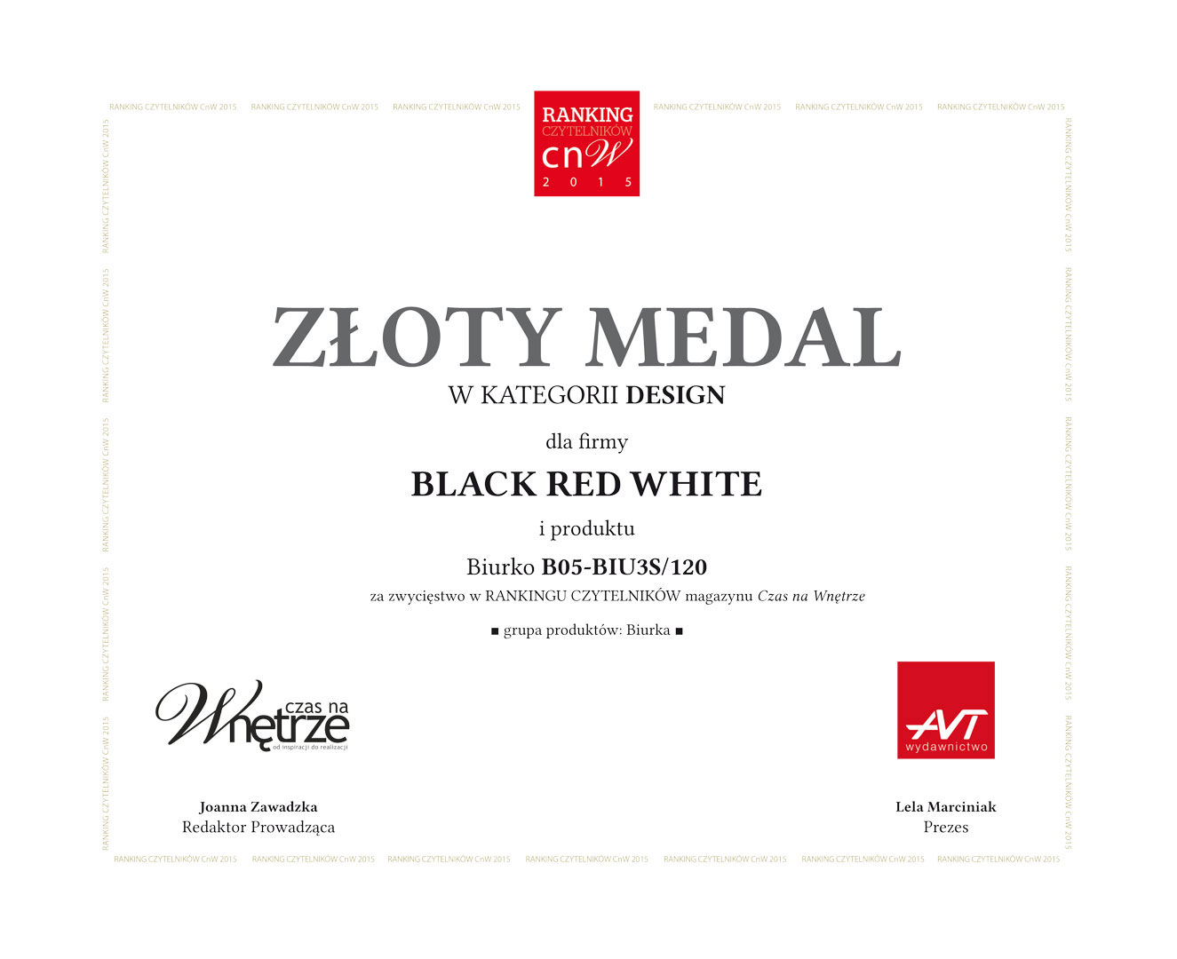 Złoty medal w kategorii Design dla Black Red White