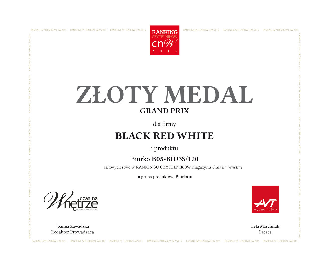 Złoty medal Grand Prix dla Black Red White